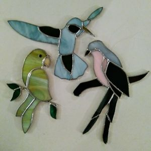 Lot of 3 Stained Stain Glass Birds Suncatchers